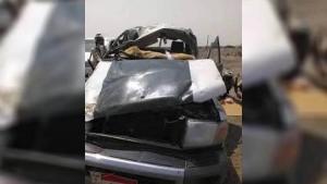 وفاة 4 جنود بالانتقالي وسائق سيارة بحادث مروري في أبين
